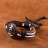 Adjustable Casual Unisex Flower Leather BraceletsBJEW-BB15621-9