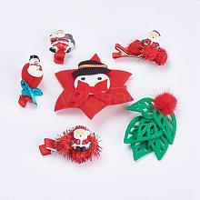 Christmas Party Accessories Supplies Iron with Cloth Alligator Hair Clips PHAR-XCP0001-02