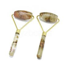 Synthetic Tigerskin Glass Brass Face Massager MRMJ-G010-11
