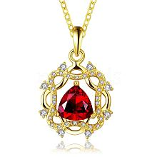 Real 18K Gold Plated Brass Cubic Zirconia Flower Pendant Necklaces NJEW-BB03721-G