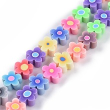 Handmade Flower Printed Polymer Clay Beads Strands CLAY-M003-07H