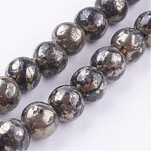 Natural Pyrite Beads Strands G-P303-01-8mm-8