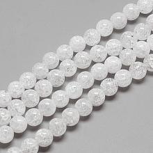 Natural Crackle Quartz Crystal Beads Strands G-R439-26-8mm