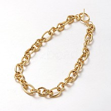 304 Stainless Steel Rolo Chain Necklace BJEW-L399-03G