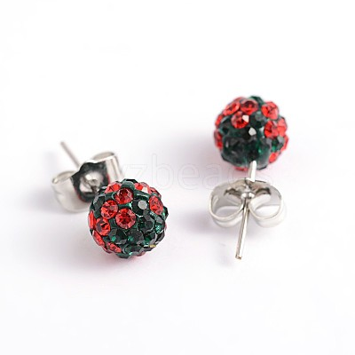 Polymer Clay Rhinestone Ball Stud Earrings EJEW-O041-02-1