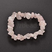 Chips Natural Rose Quartz Beaded Stretch Bracelets BJEW-JB01826-02