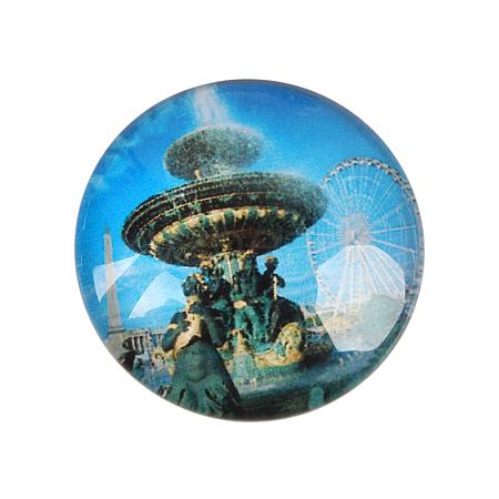 European Style Printed Glass Half Round/Dome CabochonsGGLA-N004-14mm-F29-1