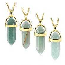 Bullet Natural Green Aventurine Pointed Pendant Necklaces NJEW-BB00024-05