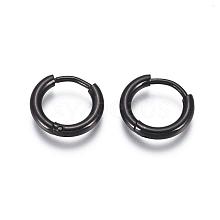 304 Stainless Steel Huggie Hoop Earrings EJEW-G272-02-8mm-B