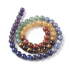 Natural Red Rainbow Jasper & Yellow Aventurine & Tiger Eye & Green Aventurine & Blue Spot Stone & Lapis Lazuli & Amethyst Beads Strands G-F668-23-6mm